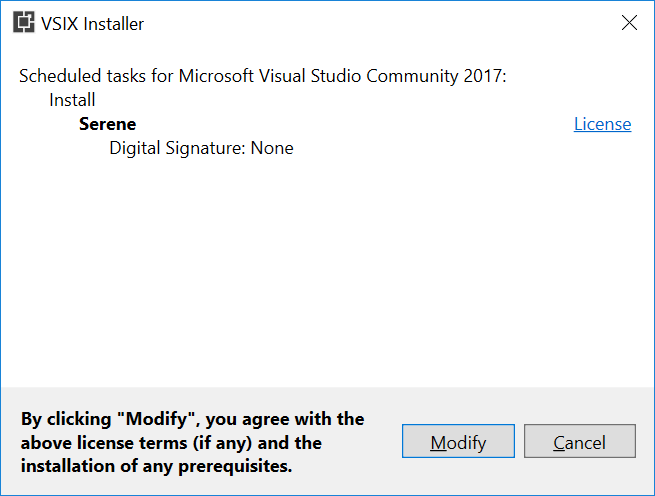 Installing Serene Directly From Visual Studio - Serenity Guide